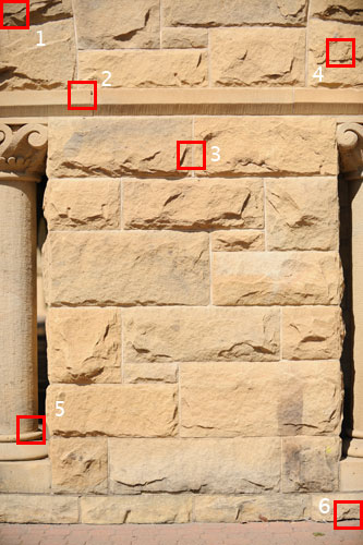 <b>Figure 6.</b> Picture of architectural detail taken from close range at 70mm. Red squares indicate 100% crops shown in Figure 7.
