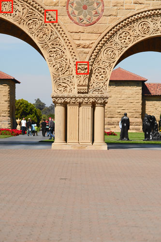Figure 2. Picture of a column taken at Stanford University. Red squares indicate 100% crops shown in Figure 3 and 4.