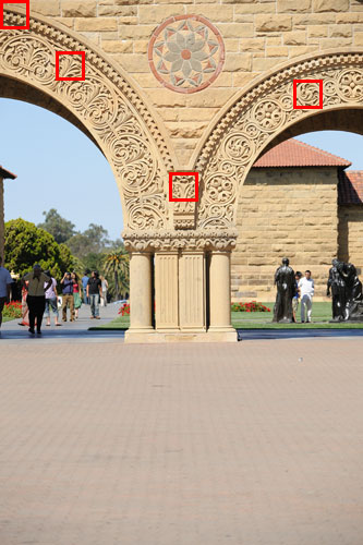 <b>Figure 2.</b> Picture of a column taken at Stanford University. Red squares indicate 100% crops shown in Figure 3, 4, and 5.