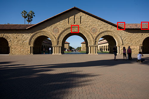 <b>Figure 2.</b> The north entrance of the Quad at Stanford University taken at f/8 and 200 ISO. Red squares indicate 100% crops shown in Figure 3, 4, and 5.