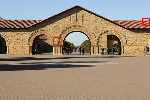Figure 1. The north entrance of the Quad at Stanford University taken at f/8 and 200 ISO. Red squares indicate 100% crops shown in Figure 2 and 3.