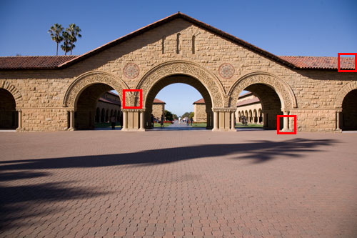 Figure 2. The north entrance of the Quad at Stanford University taken at f/8 and 200 ISO. Red squares indicate 100% crops shown in Figure 3, 4, and 5.
