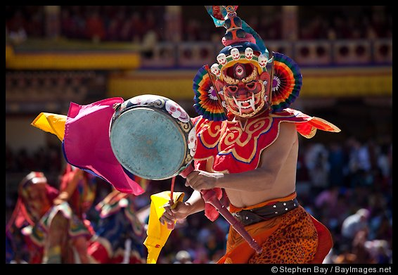Dance of the Ging and Tsholing. Thimphu tsechu, Bhutan.