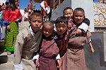 Group of young boys at the Thimphu tsechu festival.