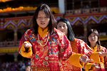 Women in traditional folk dance. Thimphu tsechu, Bhutan.