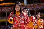 Women in traditional folk dance. Thimphu tsechu, Bhutan.