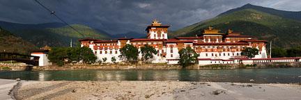 Panorama of Punakha Dzong. Punakha, Bhutan.