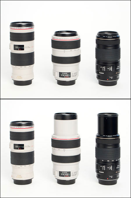 Three telephoto zoom lenses: 70-200 f/4 L, 70-300 f/4-5.6 L, and 70-300 f/4-5.6.