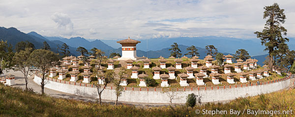 Panorama of the 108 Chorten. Dochu La Pass, Bhutan.