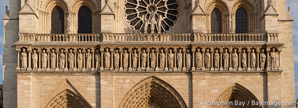 The gallery of kings on Notre Dame Cathedral. Paris, France.