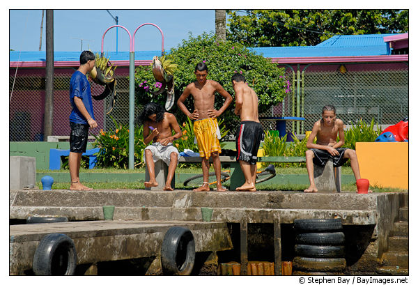 Young boys after swimming. Tortuguero village, Costa Rica.