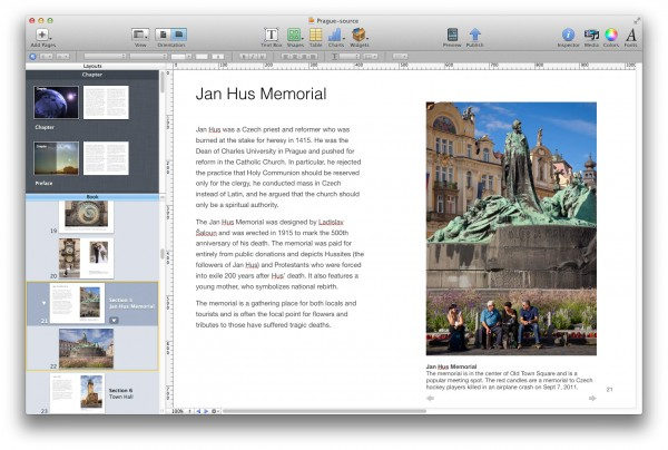 Screenshot of iBooks Author software.
