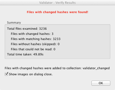 Verify files results