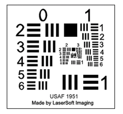 Silverfast resolution target is based on the USAF-1951 test pattern.