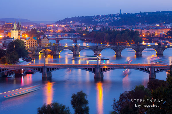 Light trails and Prague Bridges.