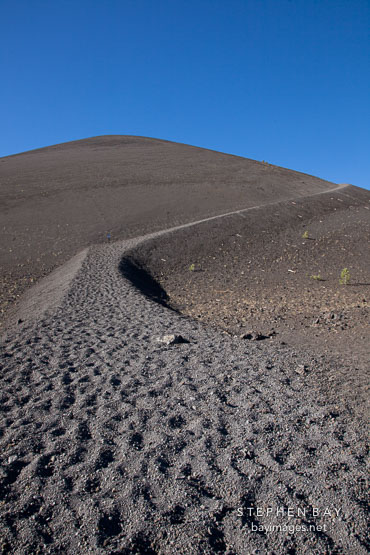 Trail of loose scoria running up the Cinder Cone volcano. Lassen NP, California.