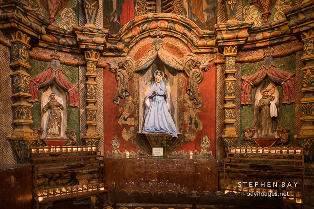 East transept of the Mission with statue of the Virgin Mary. San Xavier Del Bac, Tucson Arizona.
