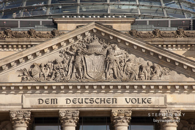 Dem Deutschen Volke, inscription on the Reichstag. Berlin, Germany.