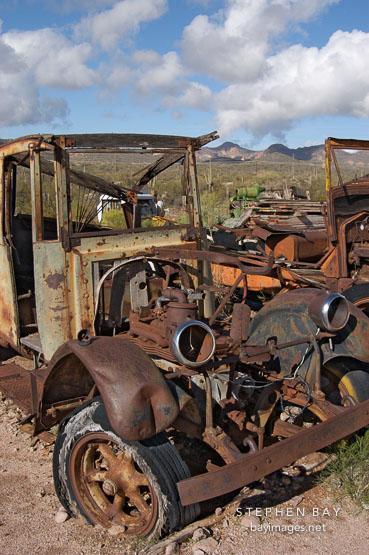 Rusted and abandoned car. Goldfield, Phoenix, Arizona, USA.
