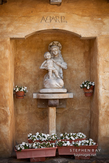 Shrine to Mary and Jesus. Carmel Mission, California.