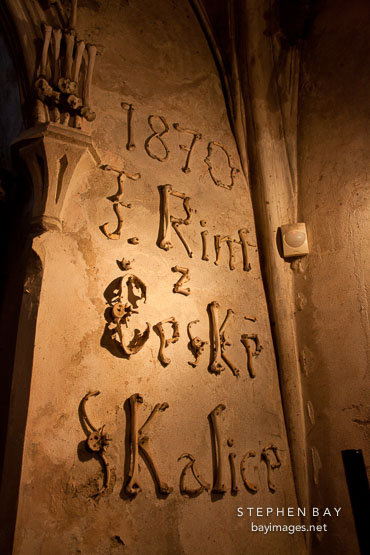 Signature of Frantisek Rint written with bones. Bone church, Sedlec, Czech Republic.