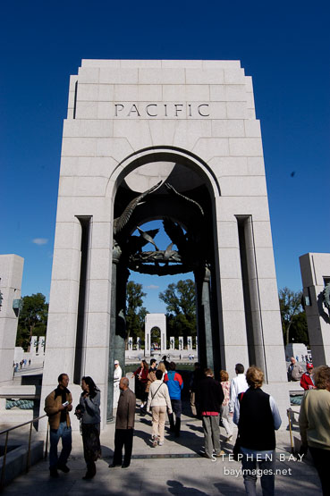 The Pacific arch at the National World War II Memorial. Washington, D.C., USA.