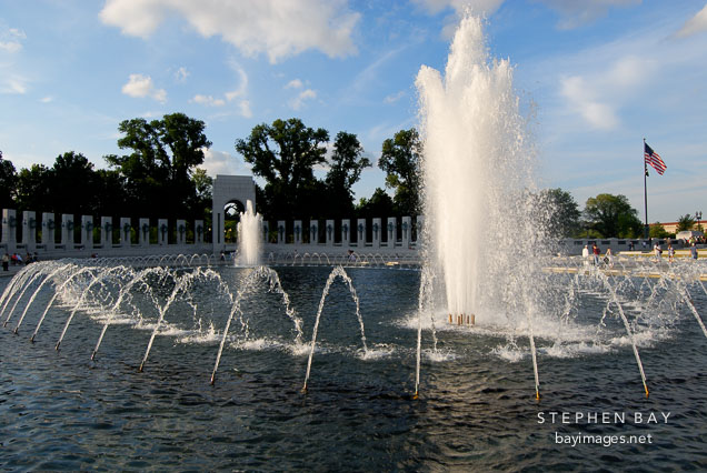 Fountain at the National World War II Memorial. Washington, D.C., USA.