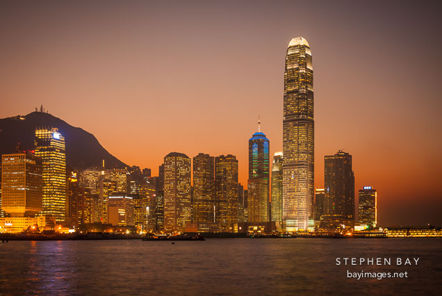 Hong Kong island skyline at sunset. Hong Kong, China.