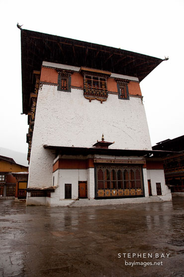 Main tower at Rinpung Dzong. Paro, Bhutan.