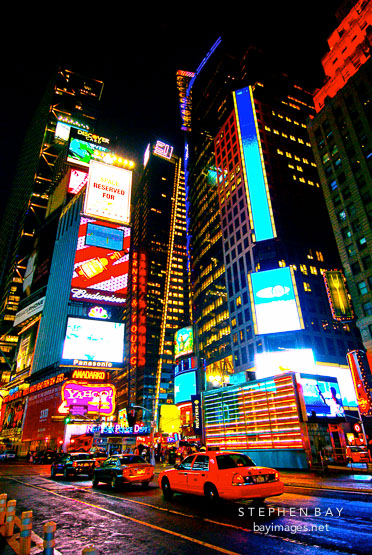 American flag and signs in times square new york city new york usa