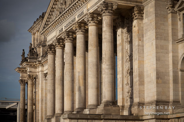 Columns of the Reichstag building. Berlin, Germany.