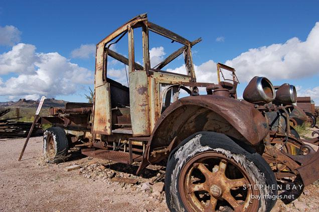 Rusted shell of a car. Goldfield, Phoenix, Arizona, USA.
