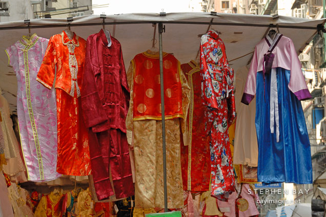 Traditional Chinese dresses for sale at the Ladies Market. Hong Kong.