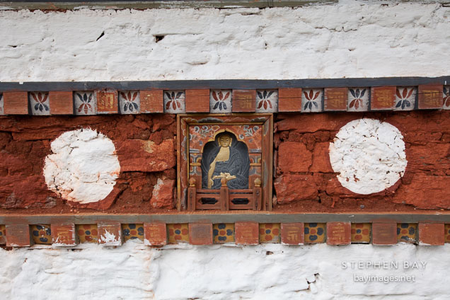 Detail of the artwork on one of the 108 chorten at Dochu La, Bhutan.