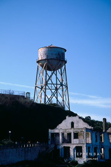 Water tower and post exchange / officers' club. Alcatraz, San Francisco, California, USA.