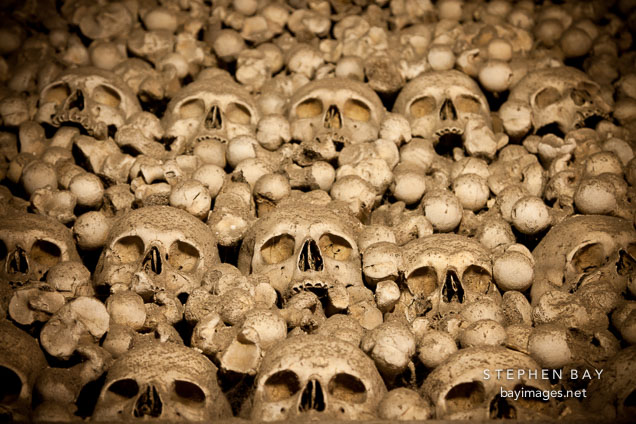 Bones stacked loosely in the ossuary. Sedlec, Czech Republic.