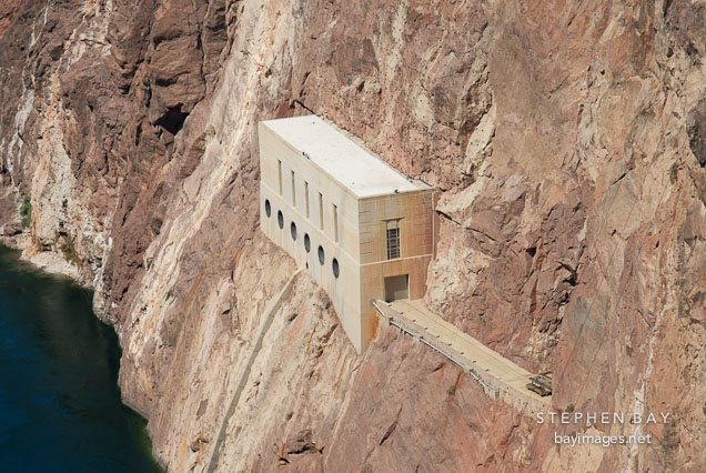 Outlet works on the Black Canyon walls (Nevada side). Hoover Dam, Nevada and Arizona, USA.