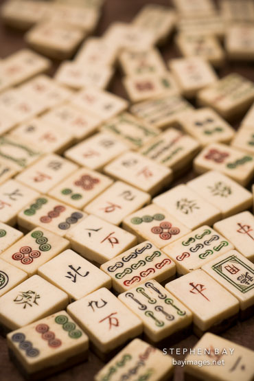 Scattered Mahjong game tiles.