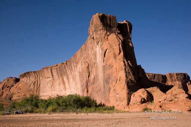 Canyon wall and Chinle wash. Canyon de Chelly NM, Arizona.