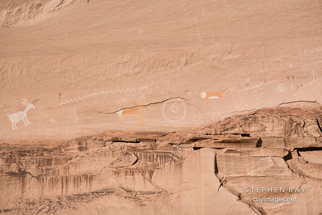 Navajo pictographs. Antelope House Ruins, Canyon de Chelly NM, Arizona.