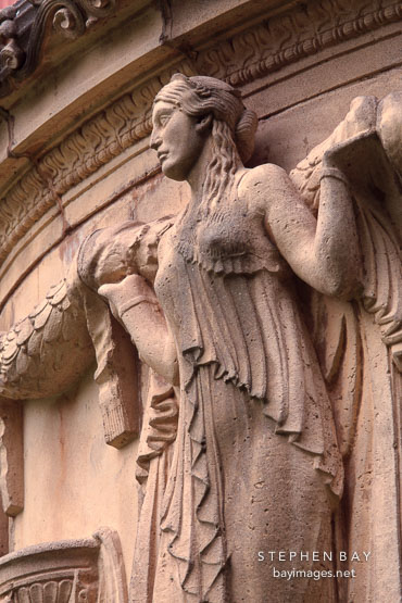 Sculpture of maiden holding garland. Palace of Fine Arts, San Francisco, California, USA.