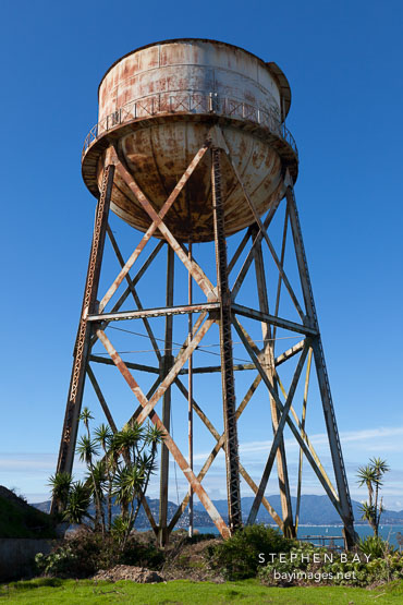 Rusted water tower. Alcatraz Island, California.