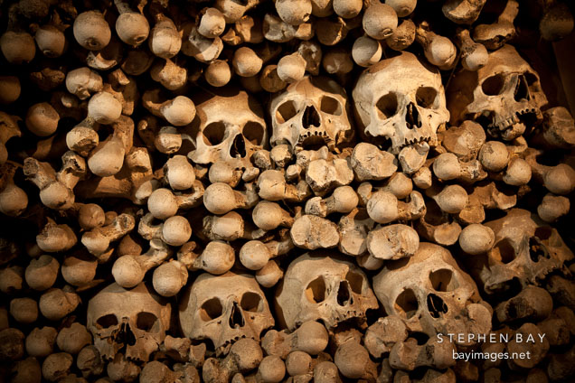 Heap of skulls and bones. Sedlec ossuary, Czech Republic.