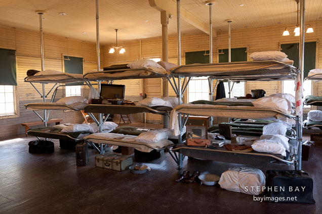Men's sleeping area in the detention center. Angel Island Immigration Station.