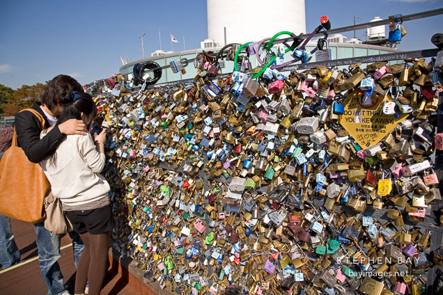 Thousands of locks of love cover the fences on the outdoor observation decks on N Seoul Tower in Seoul, South Korea.