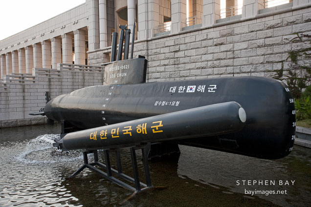 This Lee Cheon submarine is used for anti-submarine and anti-surface warfare, as well as mine laying. The attached torpedo is a an underwater wire-guided weapon system, introduced to the Korean Navy in 1991 and still used today.