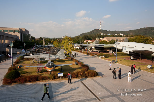 The outdoor exhibition area of the War Memorial of Korea features many full-sized historic and modern planes.