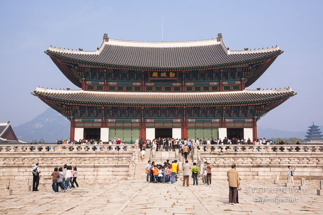 Tourists flock to Geunjeong Hall, which is the throne hall of Gyeongbok Palace in Seoul, South Korea.