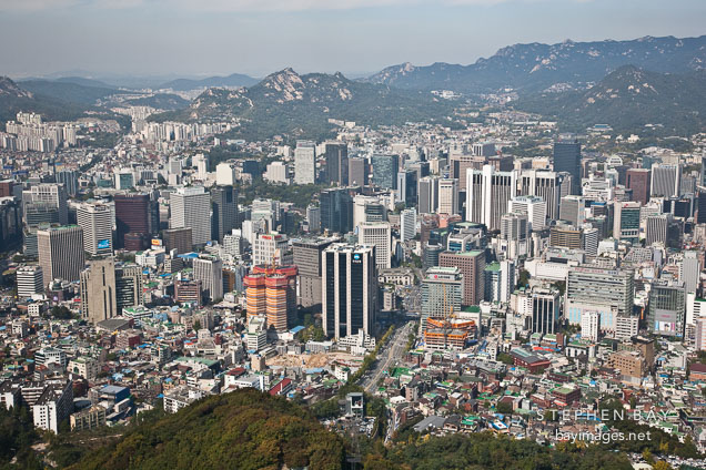 The view from N Seoul Tower in Seoul, South Korea provides a breathtaking 360 degree view of the city.