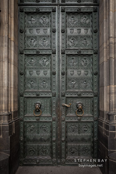 Bronze door at Cologne Cathedral. Cologne, Germany.